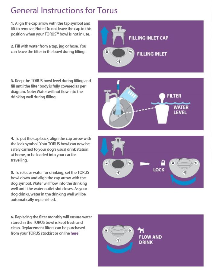 Torus Water Bowl Instructions